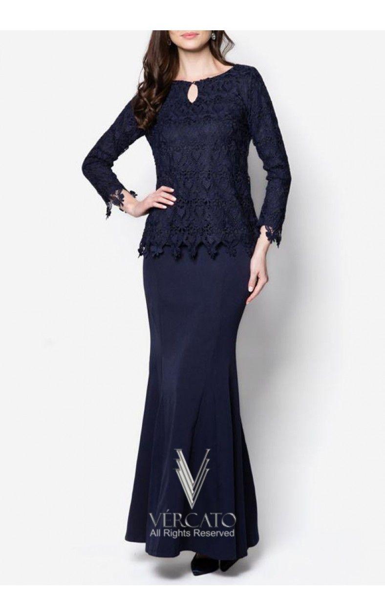 VMD11 NAVY  Baju kurung moden lace, Batik fashion, African print