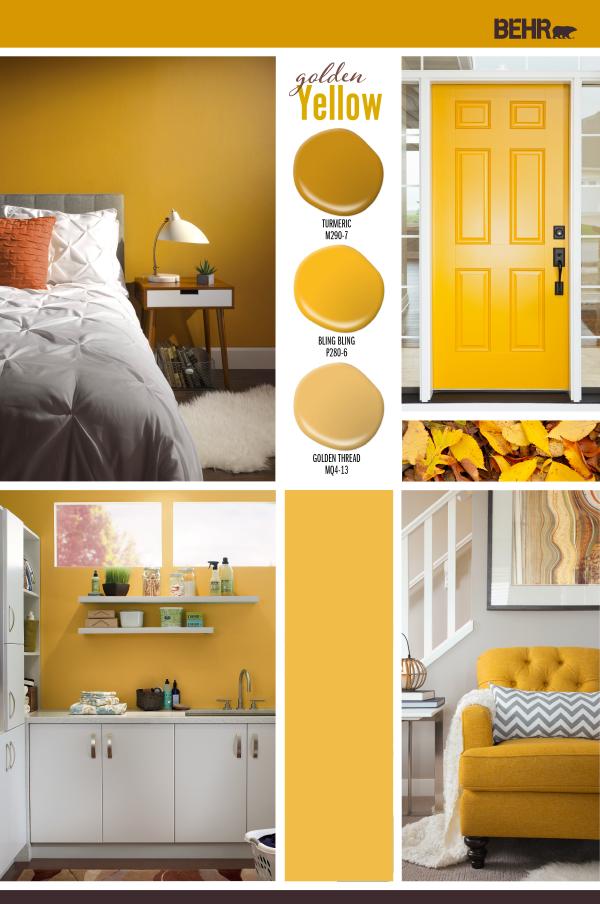 Golden Yellow | Yellow walls living room, Mustard yellow ...