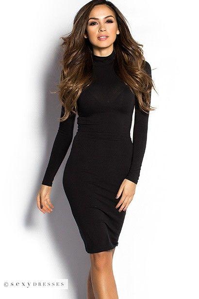 Black Long Sleeve Bodycon Turtleneck Knee Length Dress Stuff To Buy