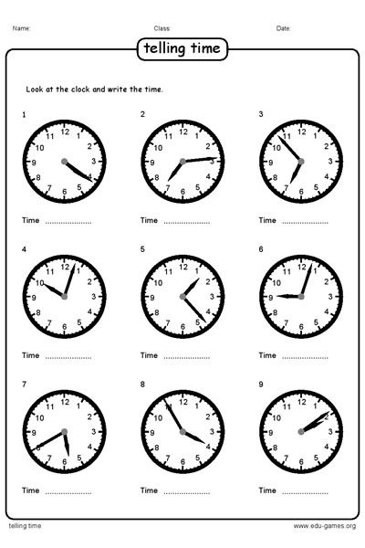 Very easy flexible and fast telling time worksheet maker With