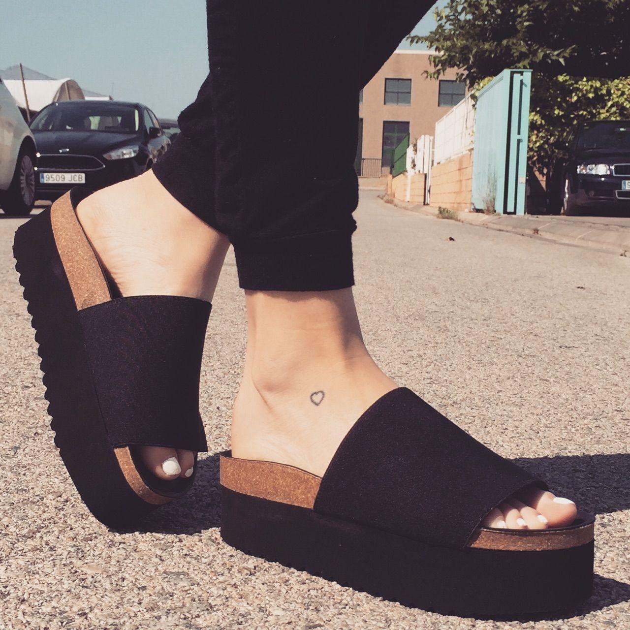 Zapatillas Canvas negro Altura plataforma Mustang 3,5cm Mujer//chica Tela