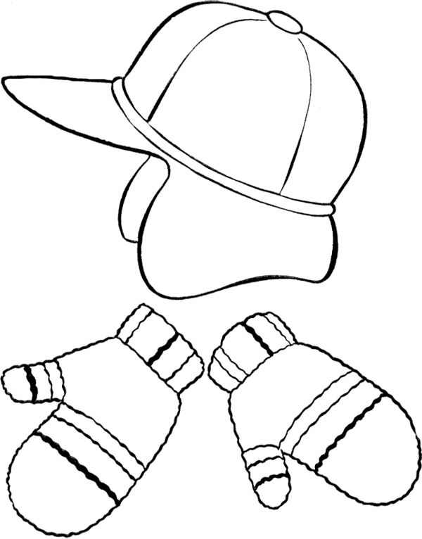 Hat And Mittens Winter Clothes Coloring Page Coloring Pages Winter Hats Christmas Applique