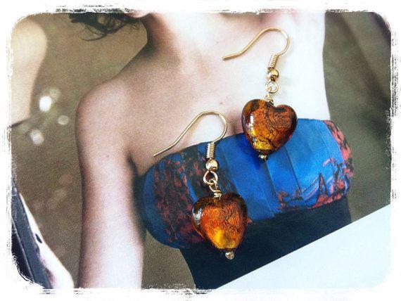 Murano heart glass earrings by Bleuberie on Etsy, $9.00