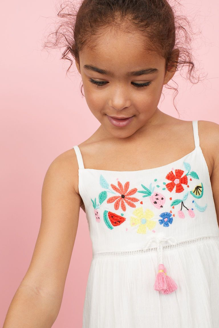d91a504a2 Cotton dress with embroidery - White Flowers - Kids