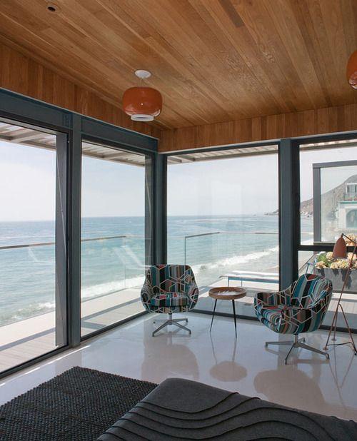 Wood ceiling concrete floors   House architecture design