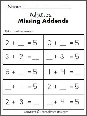 free addition math worksheet students write the missing addends to make 5 fo free. Black Bedroom Furniture Sets. Home Design Ideas