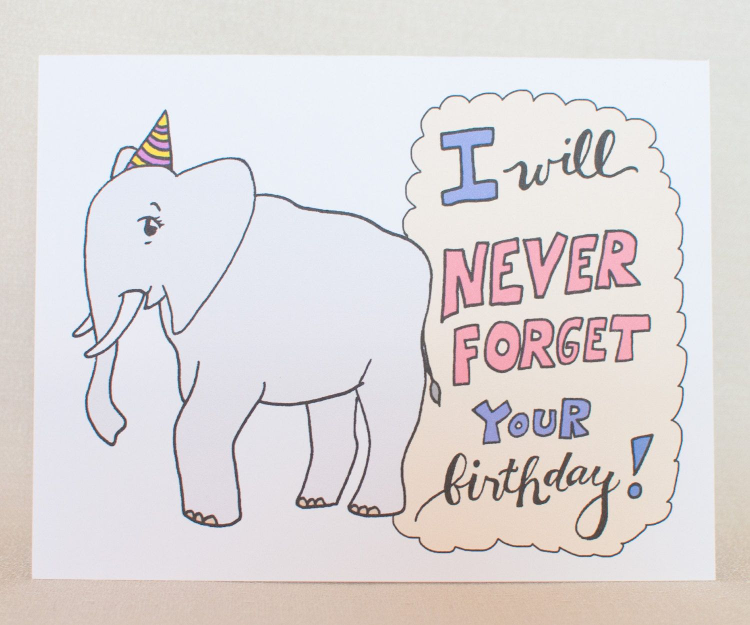 Elephant Birthday Card Bday card Elephant lovers fun birthday