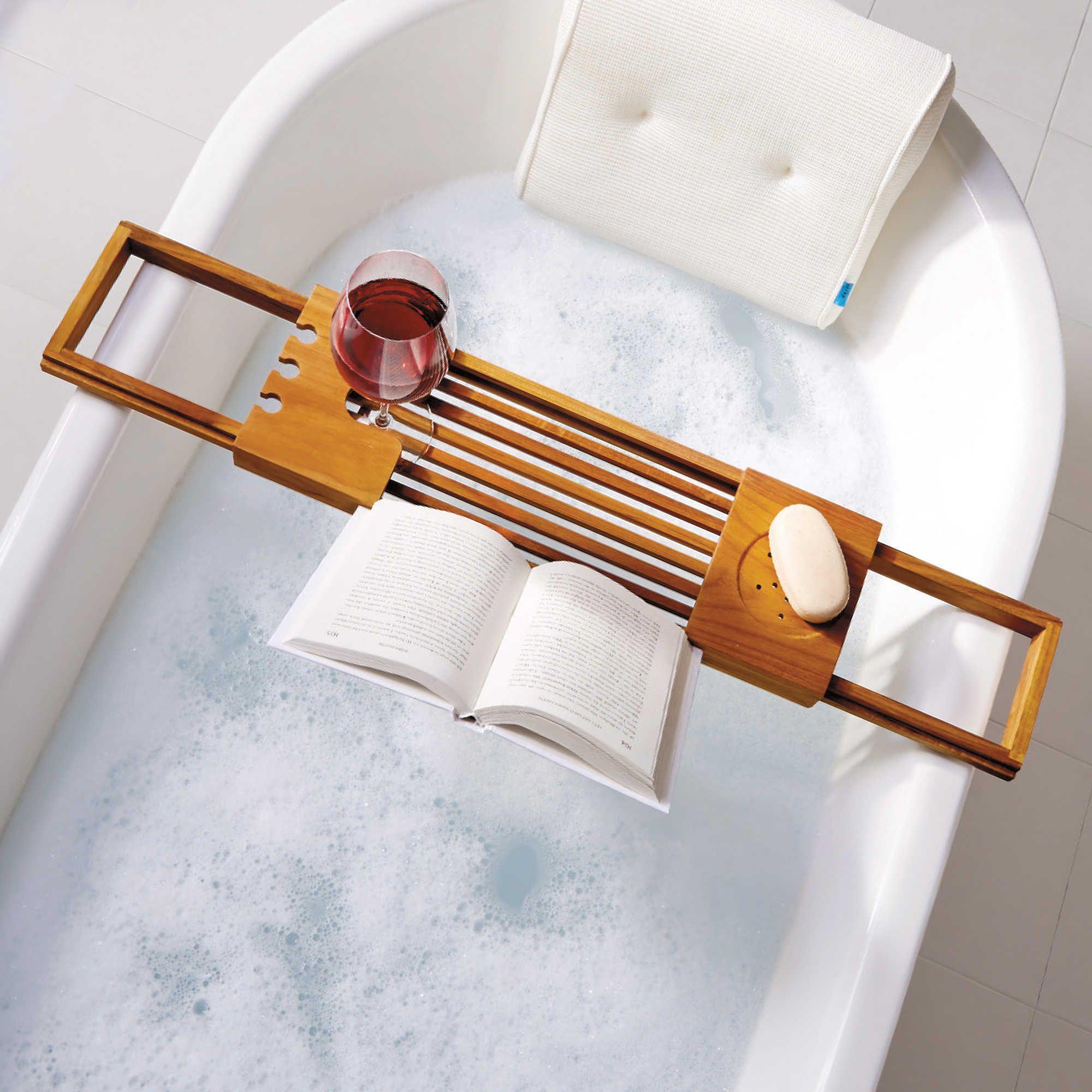 Teak bathtub tray caddy saw this at bed bath u beyond i love baths