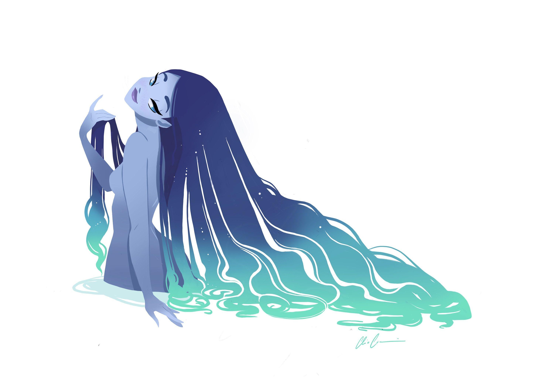 blue Mermaid, cliodraws, animation, mermaid print, art print, mermaid decor, digitalart print, mermaid drawing, mermaid sketch