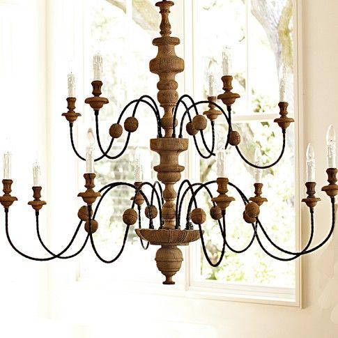 Wood & Iron Chandelier | Williams-Sonoma $995 41H 58D??? (copper chain)
