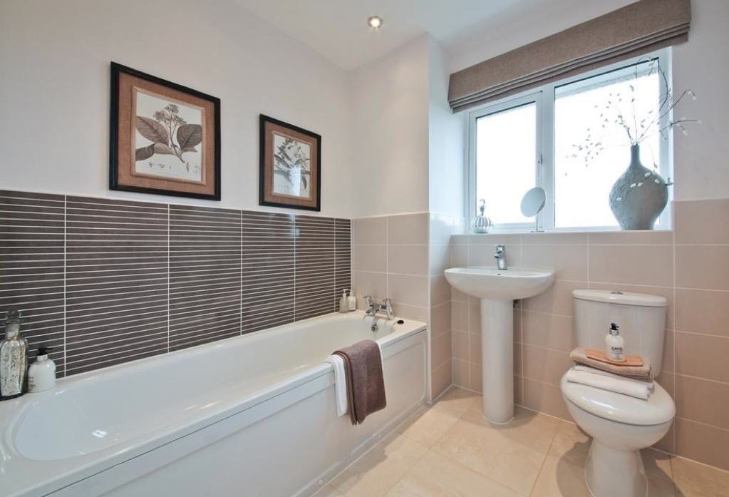 interior designed family bathroom using mellow mocha