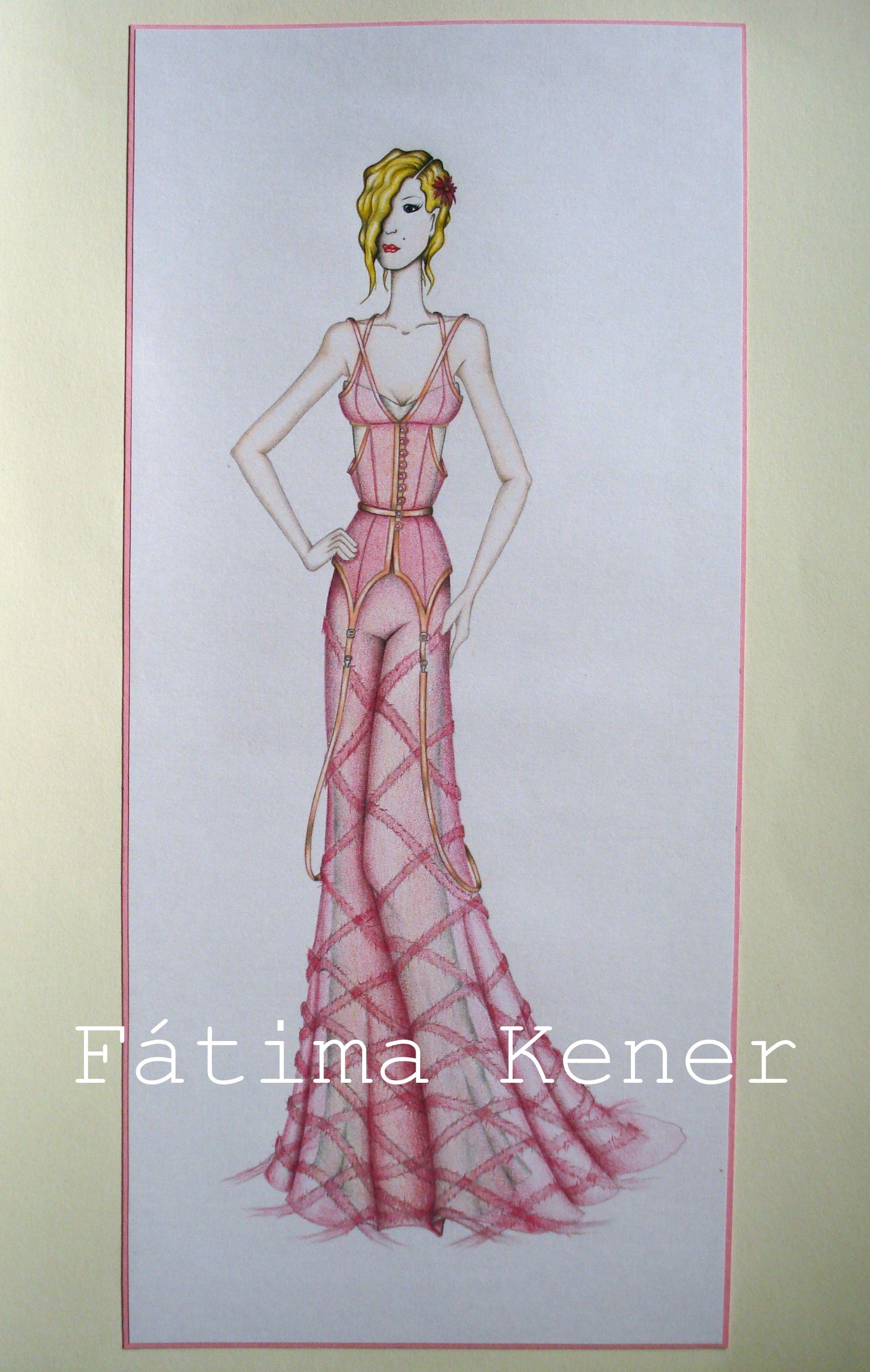 Ilustración de moda - figurin - lápiz de mina, lapices acuarelables y tinta.