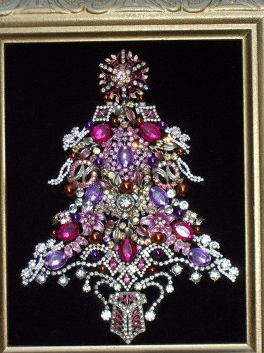 Vintage Pink Purple Rhinestone Jewelry Christmas Tree Framed Art Jewelry Christmas Tree Vintage Jewelry Art Jeweled Christmas Trees
