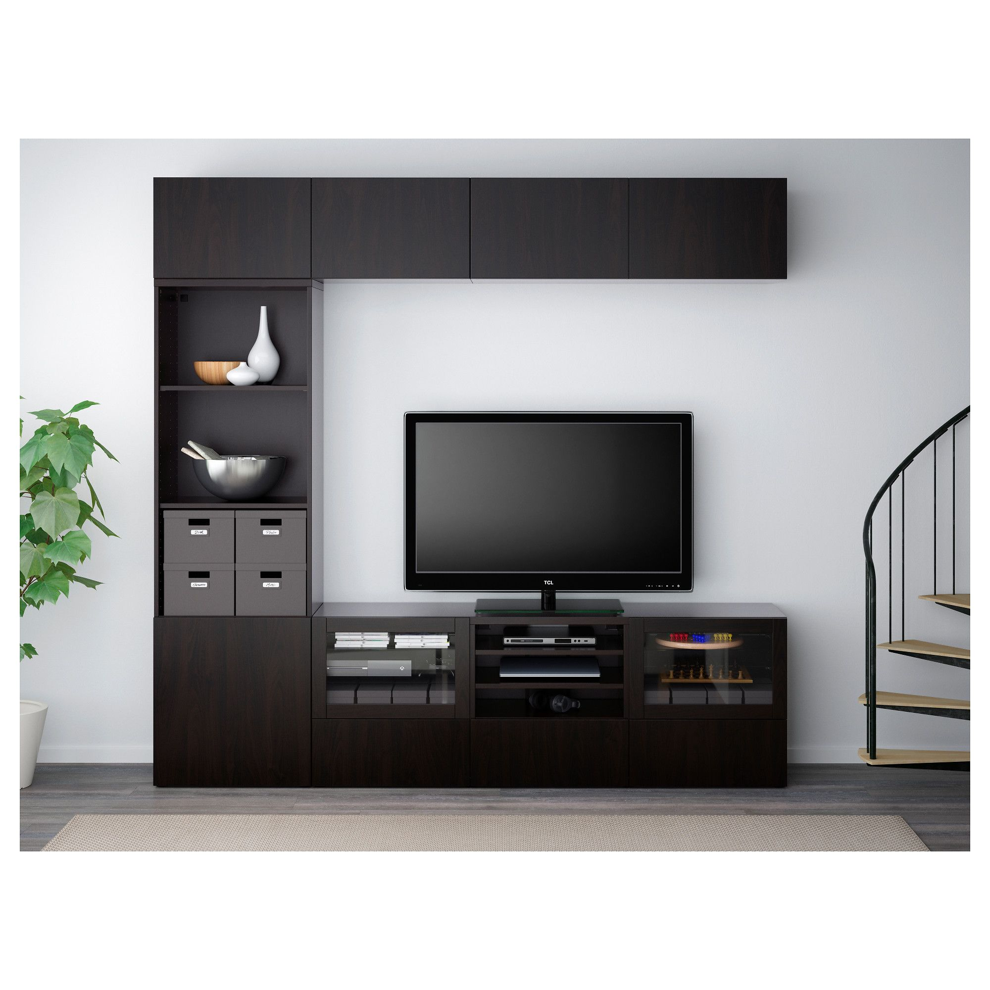 Best Tv Storage Combinationglass Doors Lappviken Sindvik Black