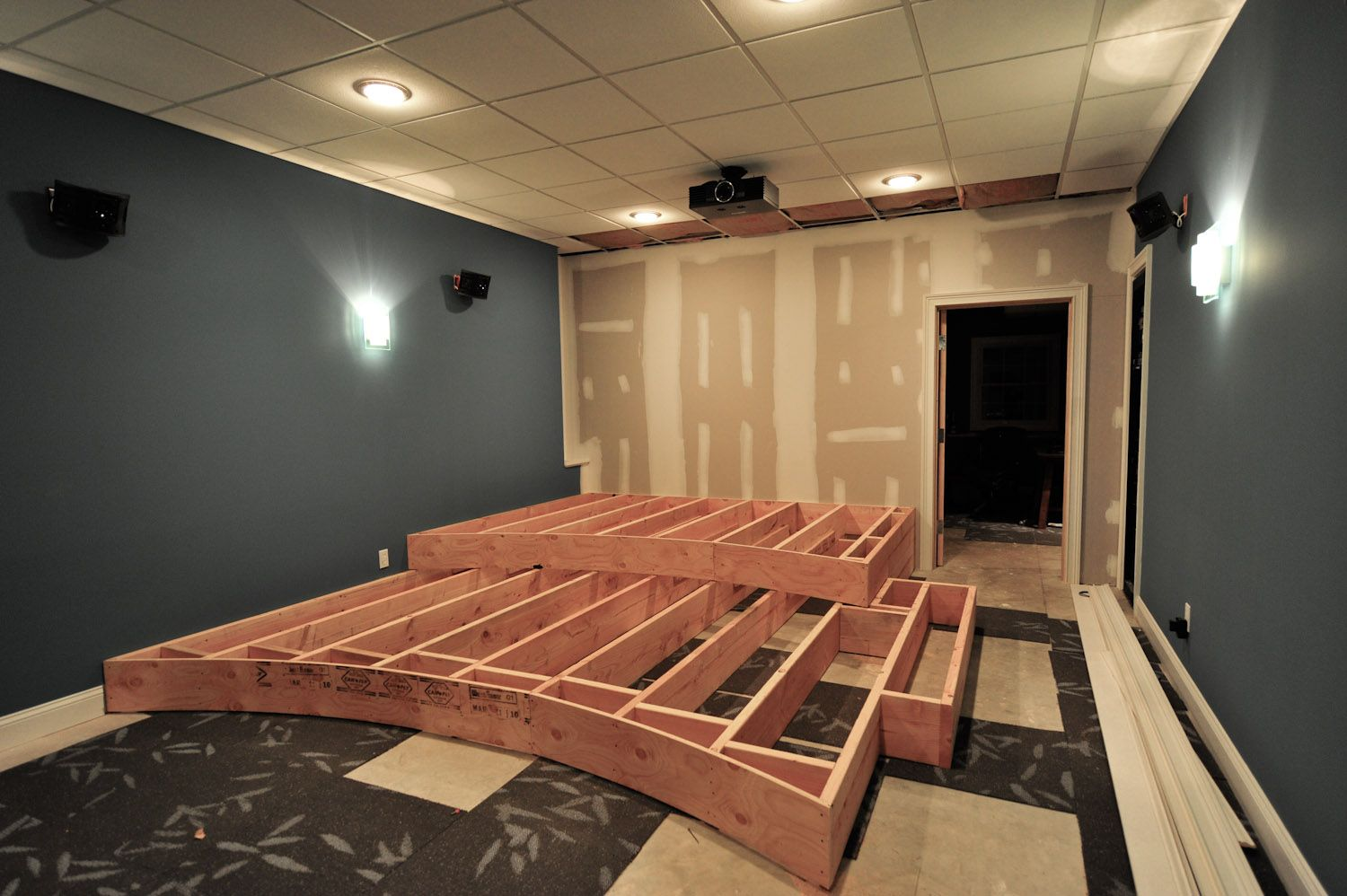 Home theater redux home theater the riser theater room pinterest basements room and - Diy home theater design idea ...