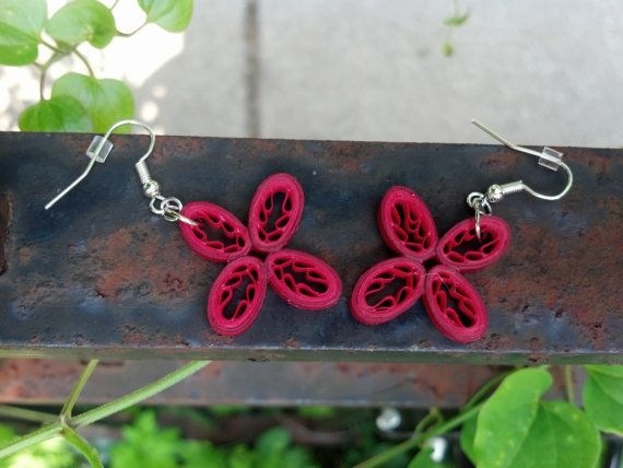 Paper Quilled Earrings Flowers Shades of by SweetheartsandCrafts