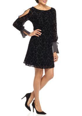 Nanette Lepore Very Black Cold Shoulder Velvet Empire Waist Dress