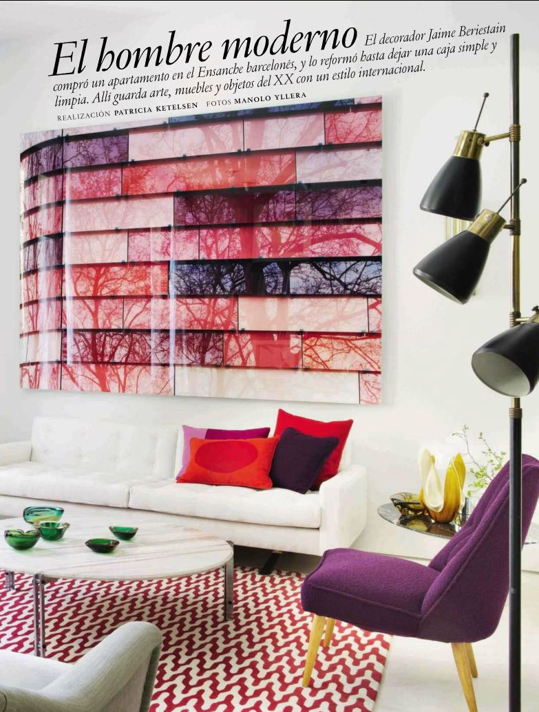 Contemporary Style living room with Plum Purple accents ...