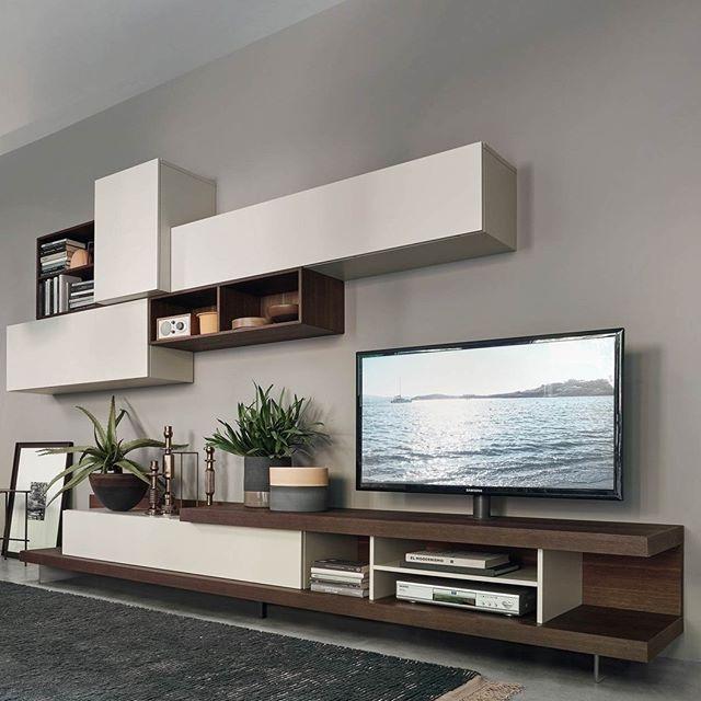Die moderne Design TV Wohnwand C52 mit viel Stauraum in offenen und ...
