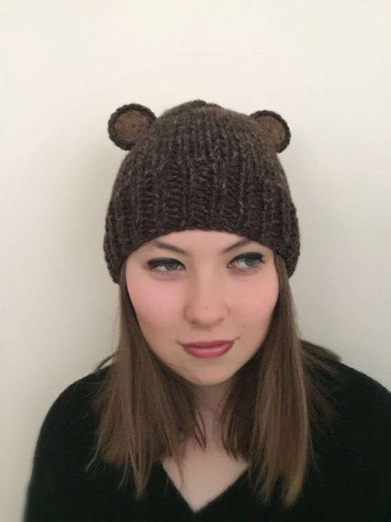 4a02e10a ANIMAL BEAR HAT, Animal hat, Bear hat, Winter hat, Brown beret, bear beanie,  Christmas hat, christma
