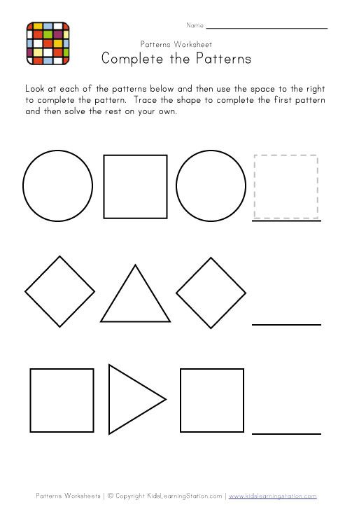 Easy Preschool Patterns Worksheet 2 Black And White