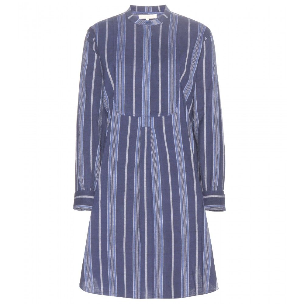 Vanessa Bruno Athé - Dakkar striped cotton dress - Tonal blue vertical stripes decorate the cotton number, while a fitted waist works to flatter the relaxed silhouette. @ www.mytheresa.com