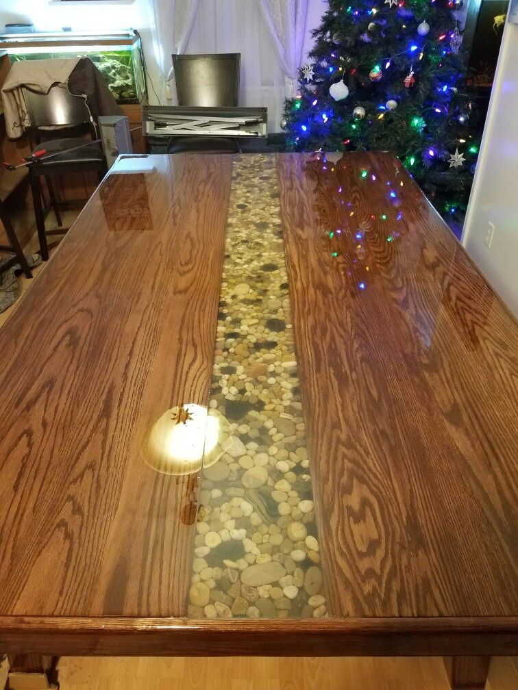 Dining room kitchen river rock epoxy diy home made table for Diy river table