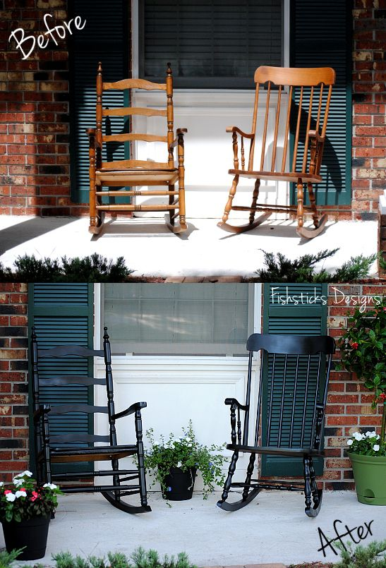 Mismatched Rocking Chairs For The Front Porch. Spray Painted To Match,  Using Rust Oleum Black Satin Enamel Spray Paint.
