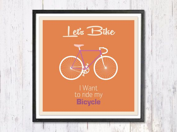 Retro Art Print Digital Art Print Lets Bike Quote by LooveMyArt