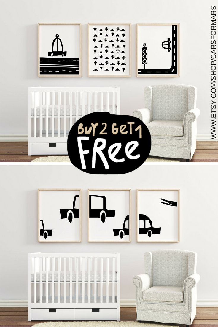 Boys nursery prints set cars nursery wall art white black nursery