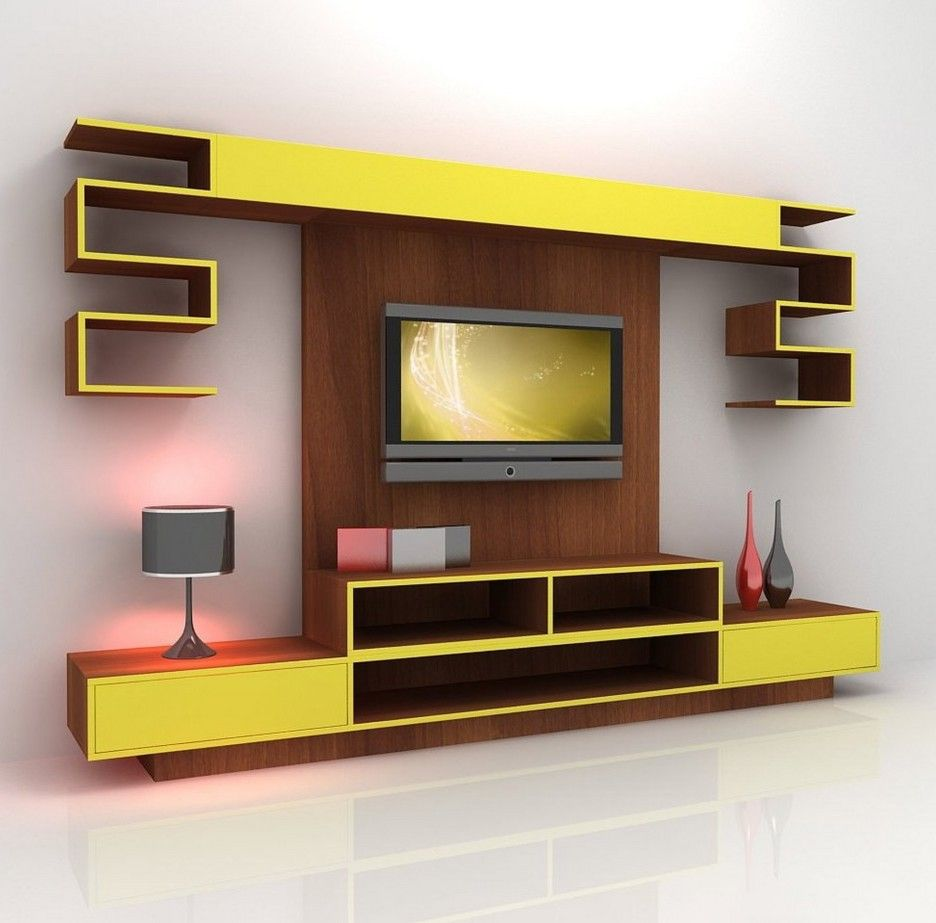 Contemporary Yellow Mixed Brown Wooden Tv Stand Cabinet And Wall