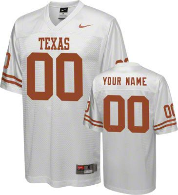 sports shoes 3e677 49bff Texas Longhorns Football Jersey: Customizable Nike White ...