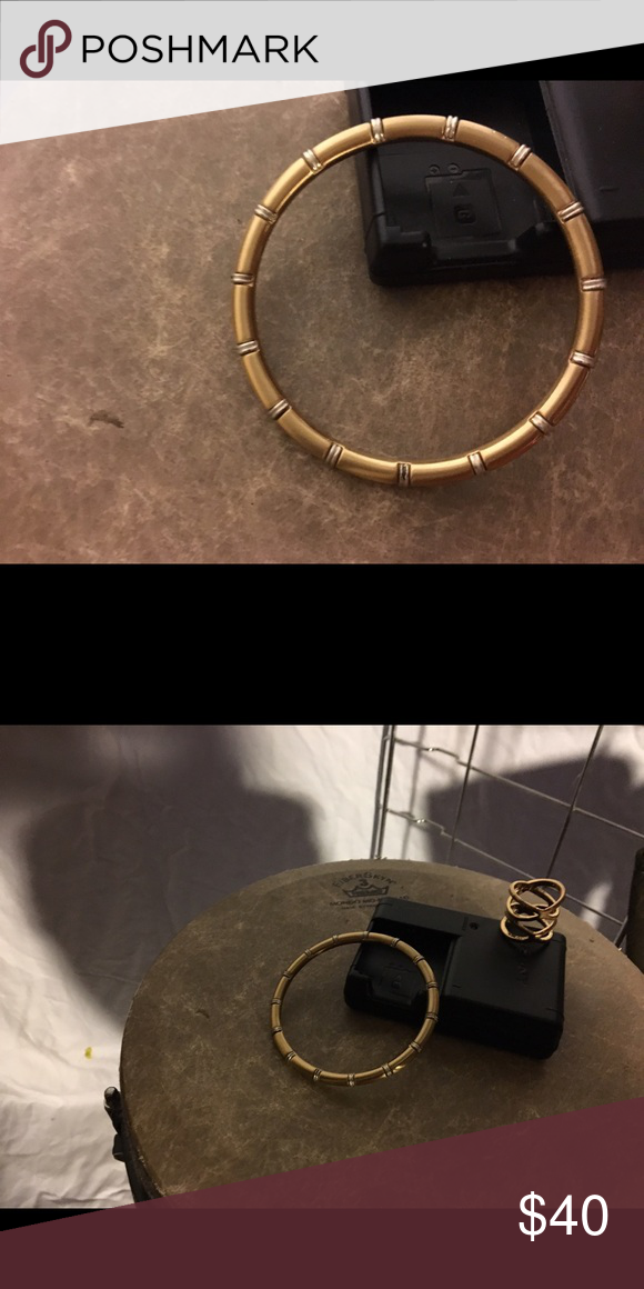 Gold and silver Bracelet Heavy solid gold and silver bangle bracelet. Jewelry Bracelets