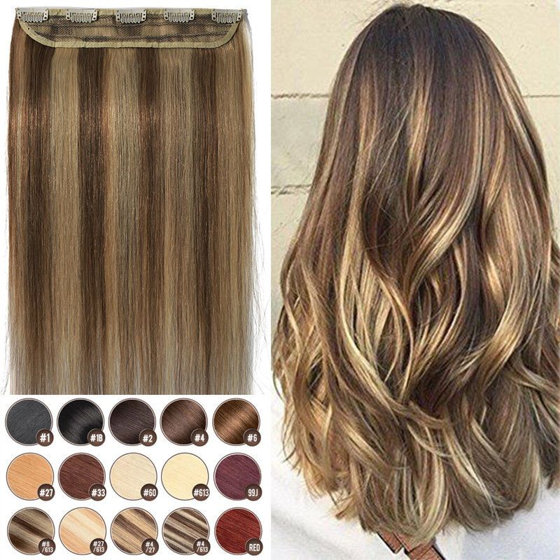 Invisible Clip In One Piece Thick Remy Human Hair Extensions 34full