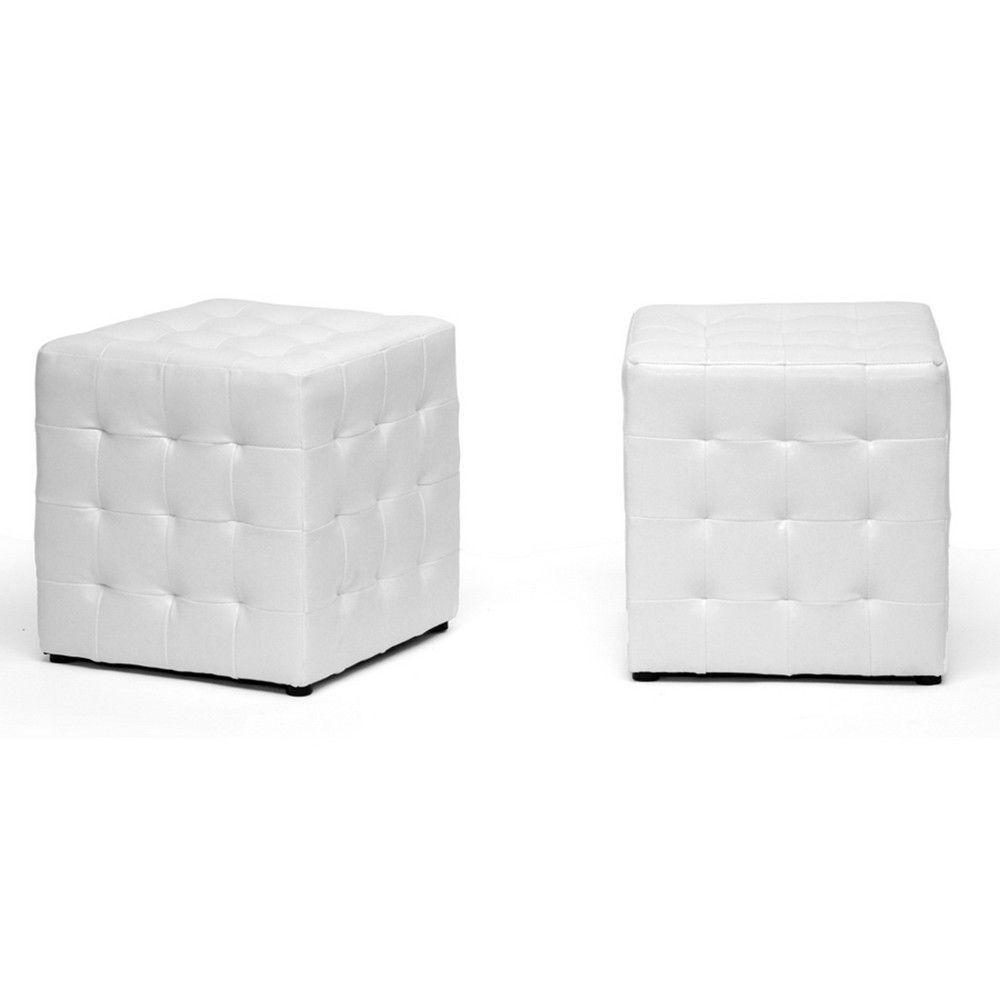 Sorrel White Modern Cube Ottoman Set Of 2 White Ottoman