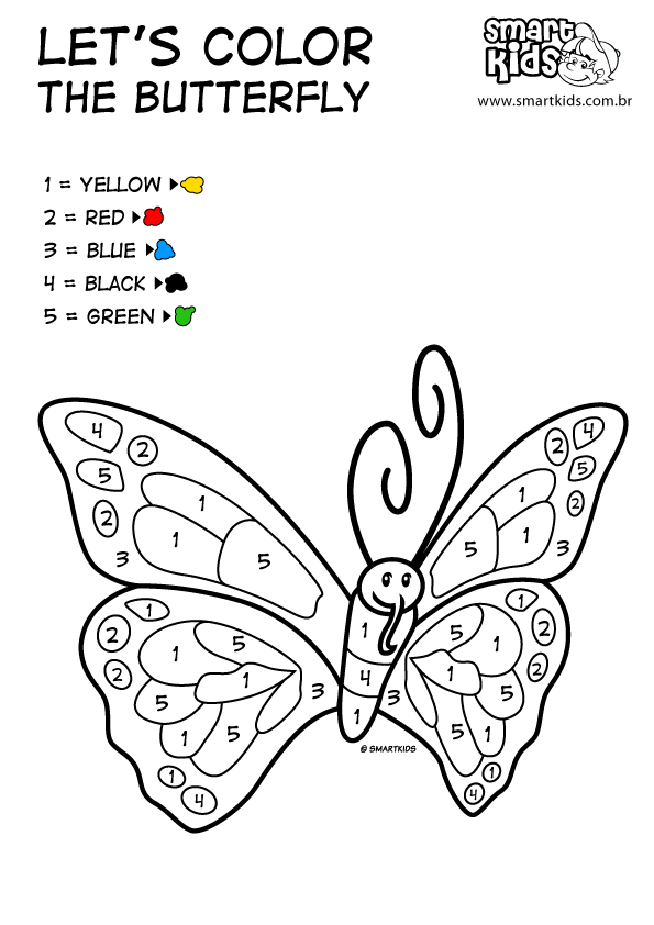 ingles-color-butterfly.png (595×842)   ATIVIDADES 1 ANO E   Pinterest