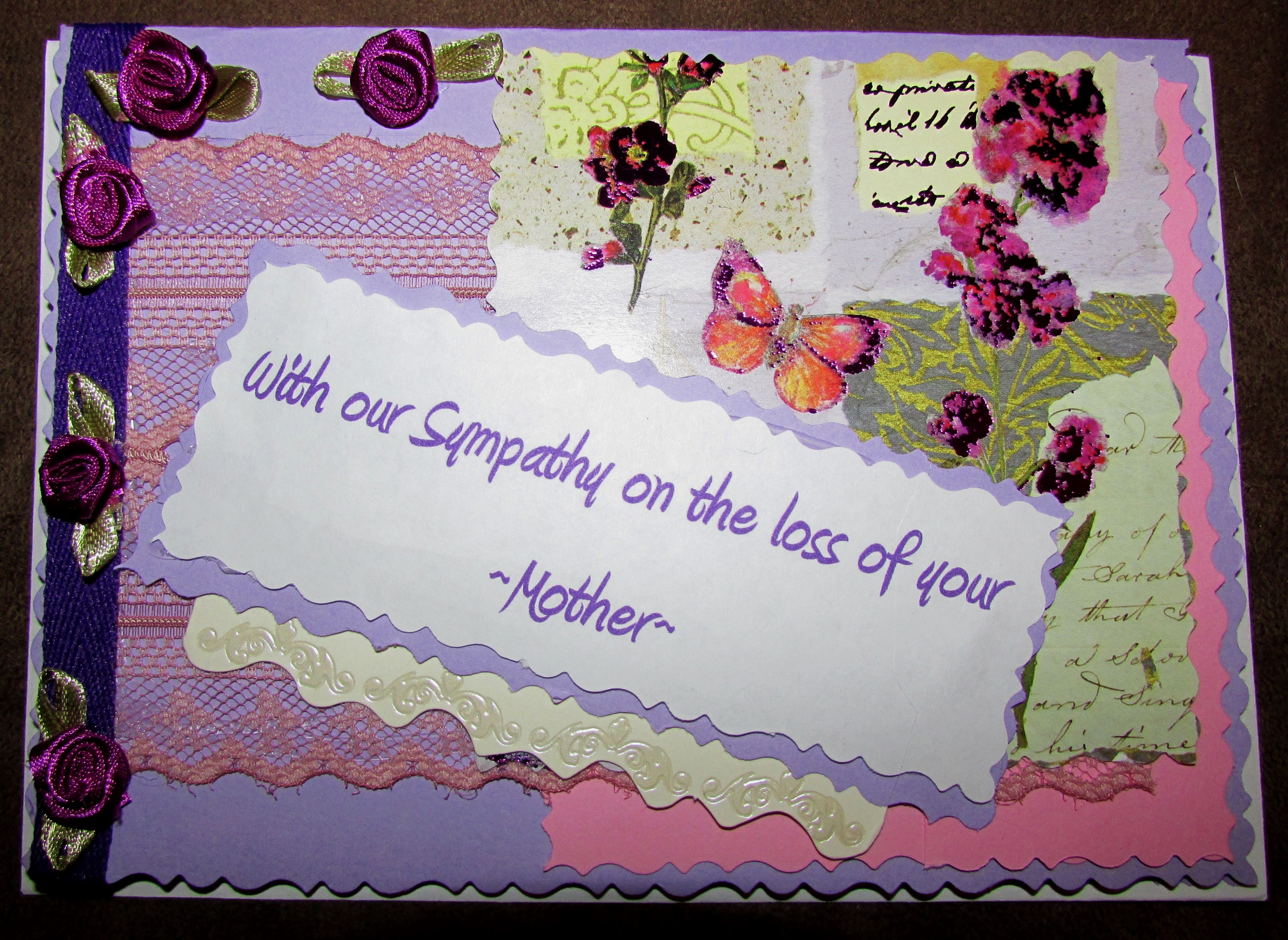 Loss of mother sympathy card sympathy cards homemade