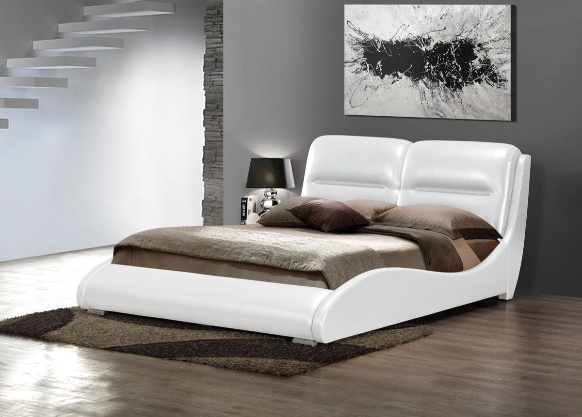 acme romney eastern king bed white pu 24717ek king beds and modern