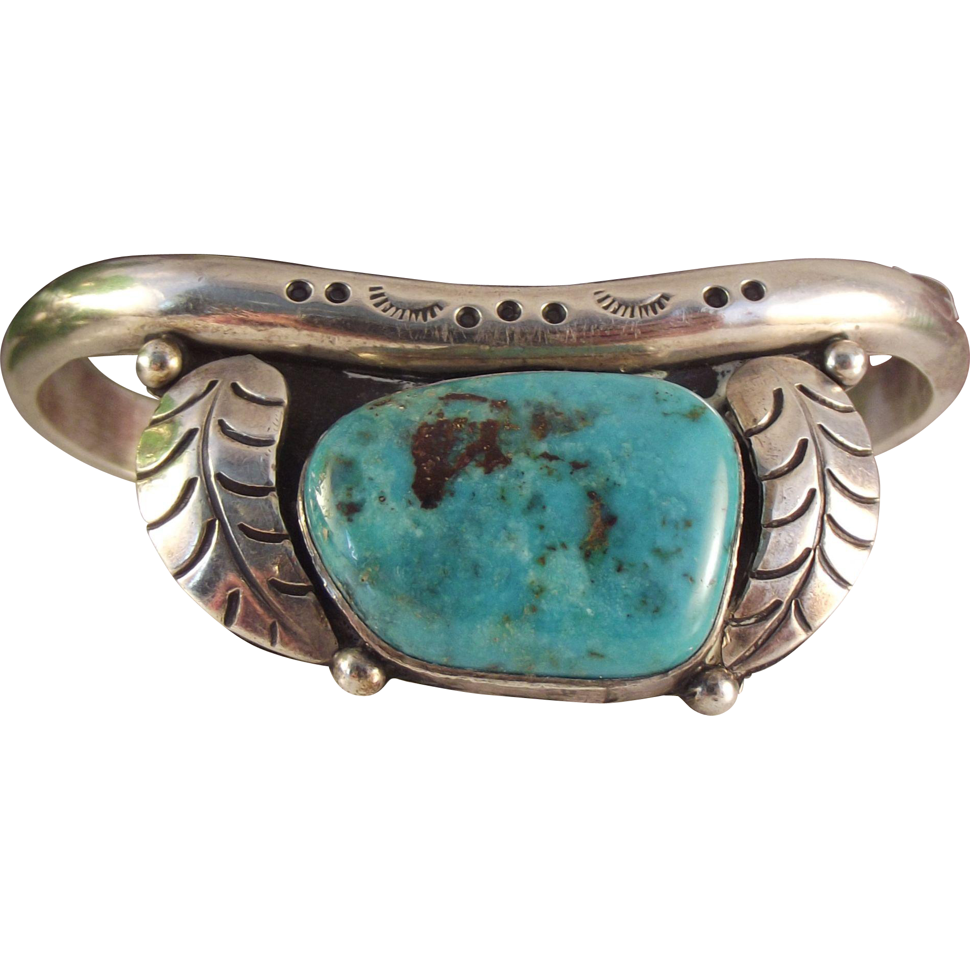 60s Native American Feather Motif Turquoise Bracelet Turquoise Bracelet Native American Feathers Turquoise