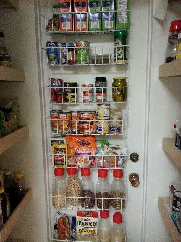 Increase pantry storage by adding storage on pantry door.