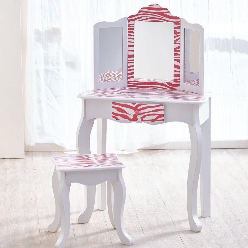 Girls Wooden Dressing Table White Pink Vanity Desk Mirror Stool Child  Furniture