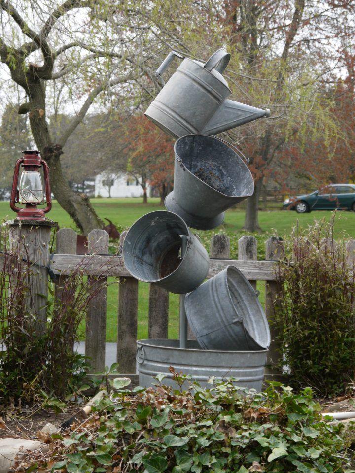 Annie S Galvanized Tipsy Pots, Container Gardening, Flowers, Gardening,  Outdooru2026