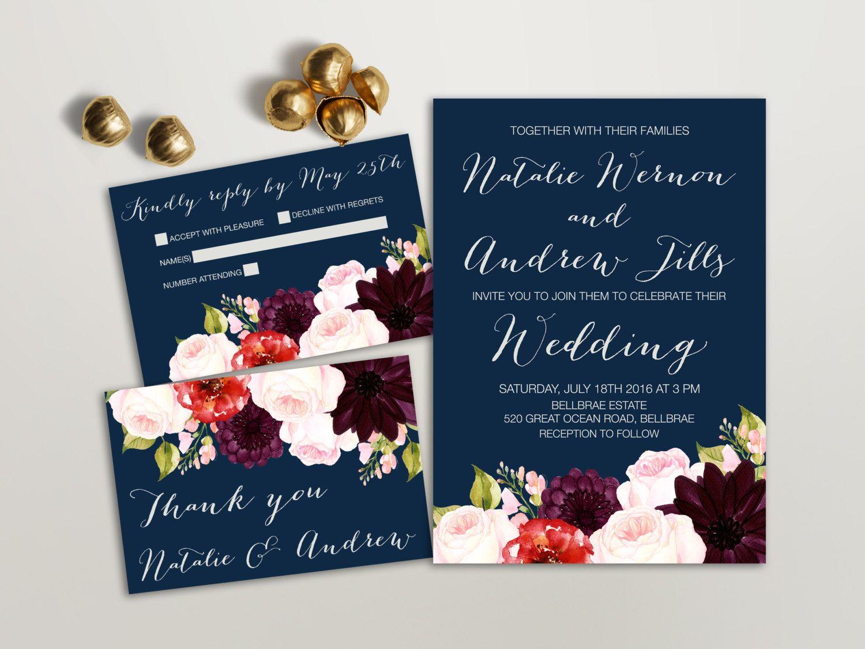 Floral Wedding Invitation Suite, Printable Wedding Invitation, Navy Wedding  Invitation, Spring Wedding,