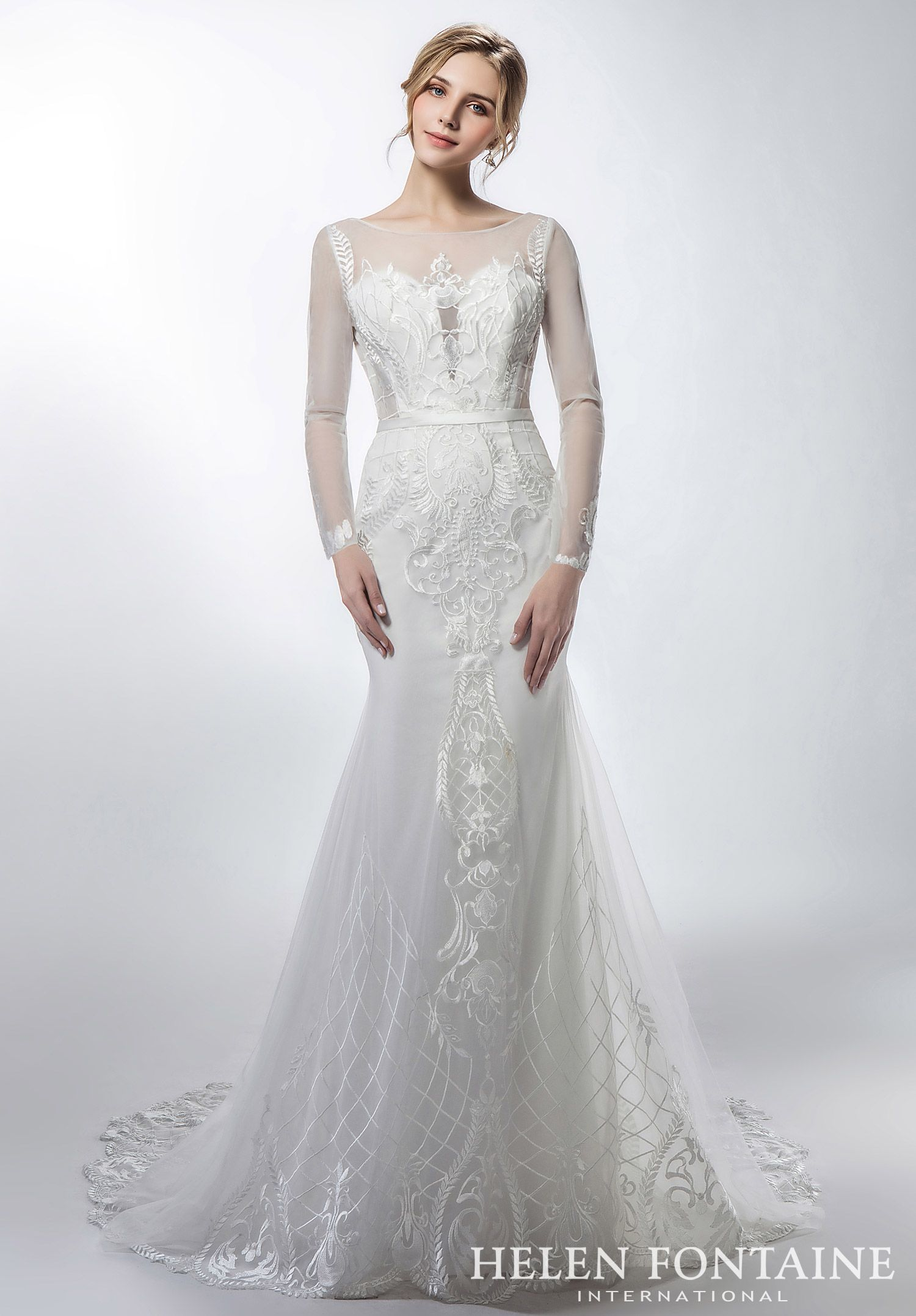 Lace On Tulle Mermaid Wedding Dress With Sheer Neck Long Sleeves ...