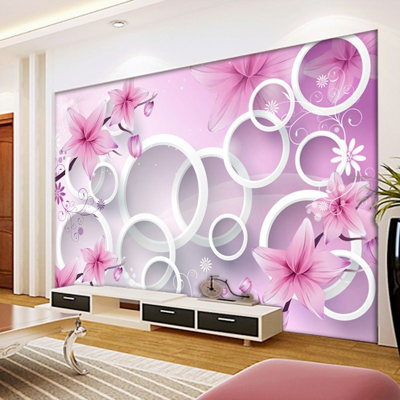 Flower wall murals 3d stereoscopic large circle fantasy - Flower wallpaper mural ...