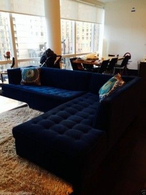 Navy Blue Velvet Tufted Sectional