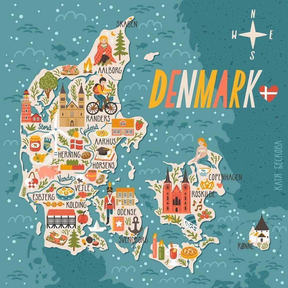 Denmark Map Denmark Denmark Map Karte Von Danemark Illustrierte Karten Reisekarten