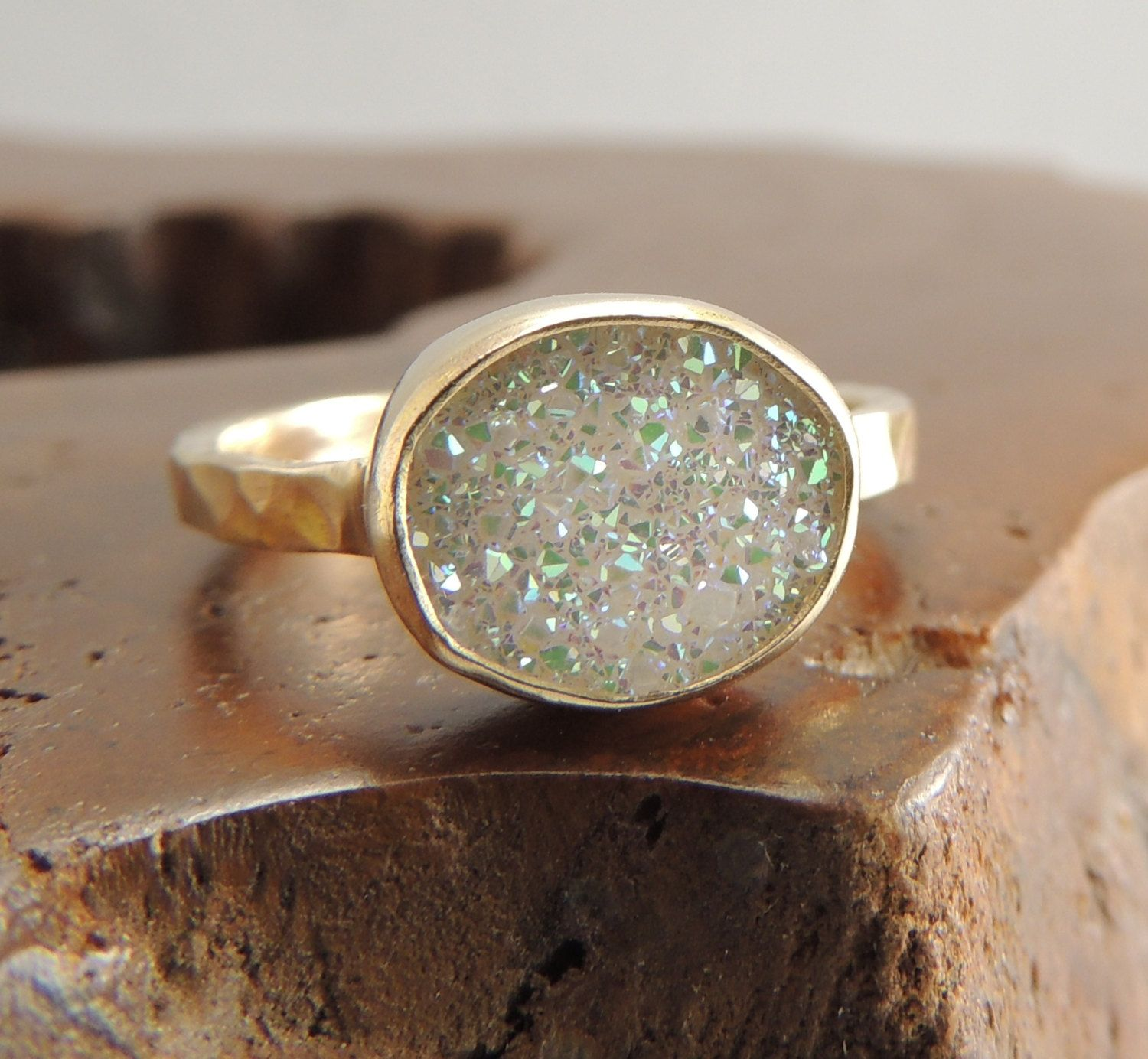 Hand crafted engagement rings - 14k Gold White Druzy Quartz Ring Engagement By Pointnopointstudio 270 00