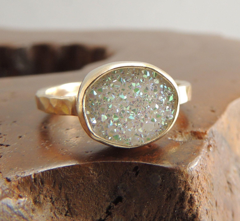14k Gold White Druzy Quartz Ring Engagement By Pointnopointstudio, $27000