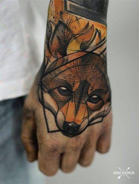 01a681bfb Sketch work fox tattoo on the left hand. | Animal Tattoos | Fox ...
